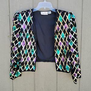 VTG 80's multi colored sequined blazer